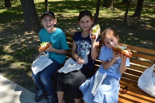Big hotdogs before the zoo!
