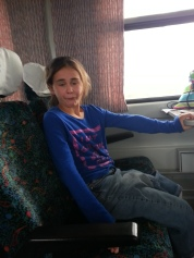 Maryanna being silly on the train