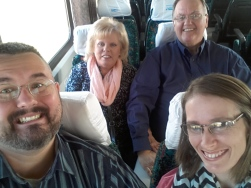 Our pastor, Bro Graham, and his wife on the train to Miskolc